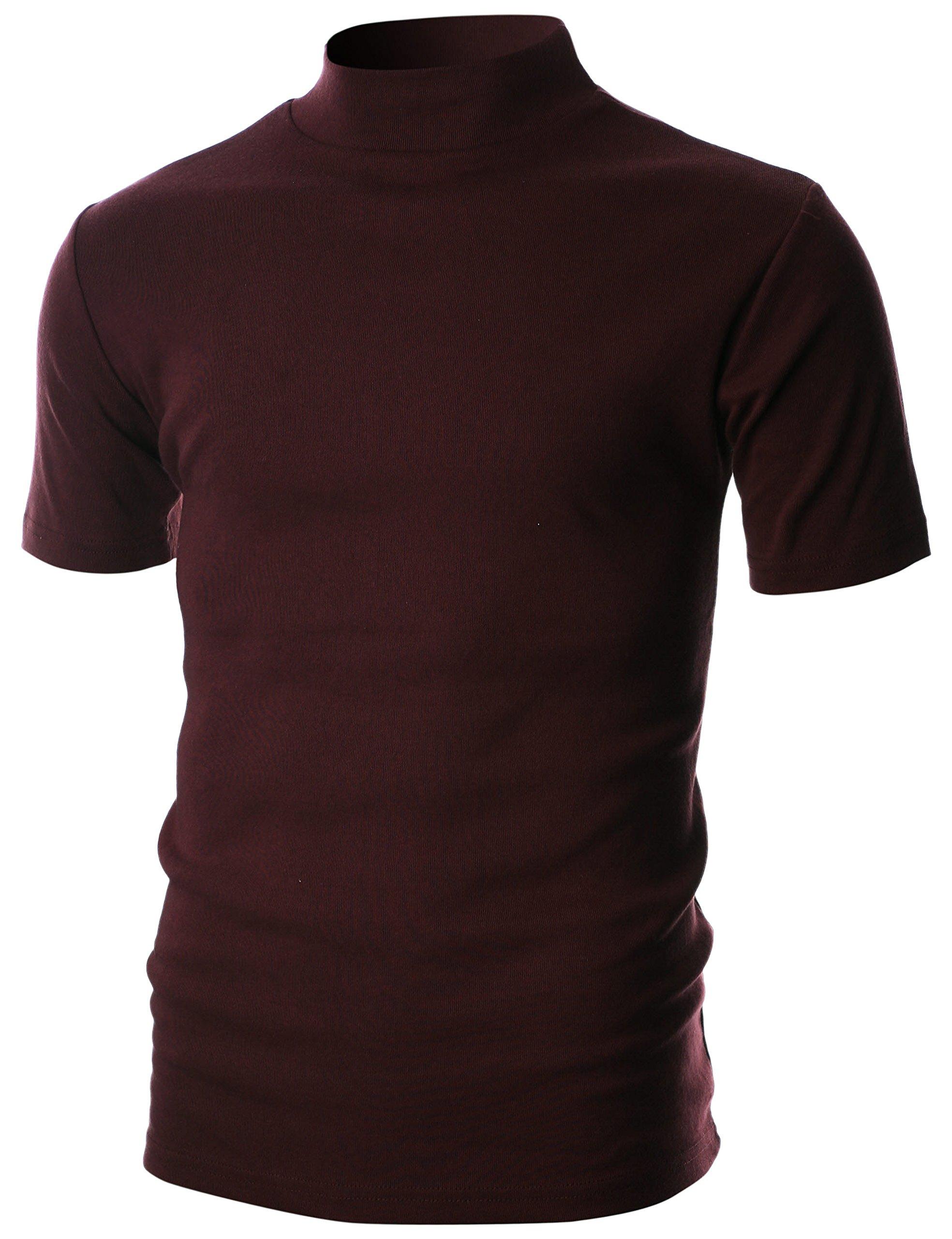 Ohoo Mens Slim Fit Flice Short Sleeve Pullover Lightweight Mockneck/DCT105-BURGUNDY-XL