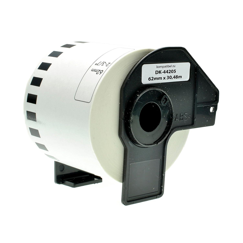10 Rollen Brother-kompatibel DK-44205 Removable Endlos Etikettens Black on wei/ß 62mm x 30.48m Thermopapier mit Tr/ägerspule