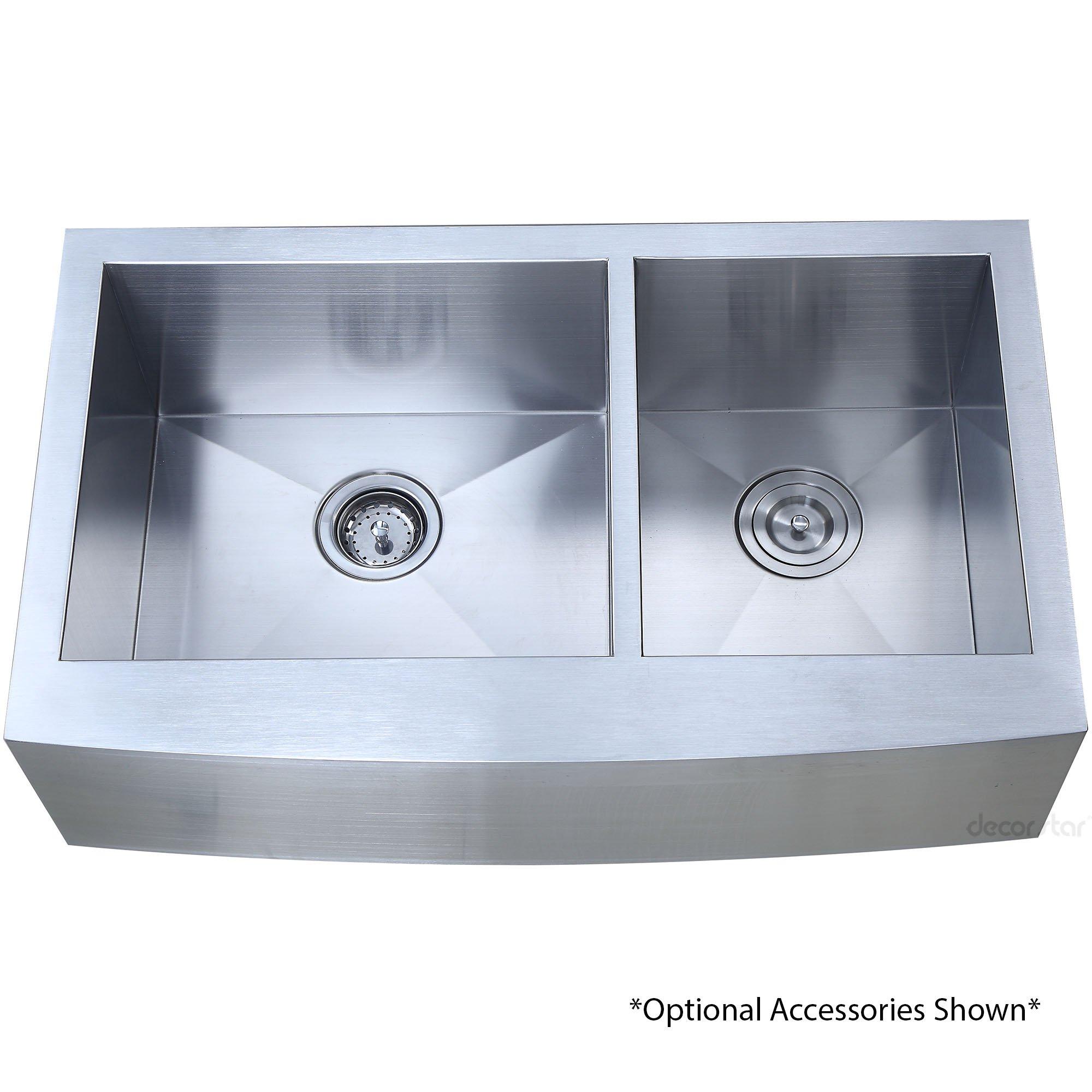 Decor Star F-002-Z 33 Inch x 20 Inch Farmhouse Apron 60/40 Offset Double Bowl 16 Gauge Stainless Steel Luxury Handmade Kitchen Sink cUPC Zero Radius by Décor Star (Image #6)