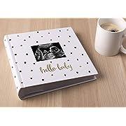 Pearhead 'Hello Baby' Baby Photo Album, White/Black and Gold Polka Dot
