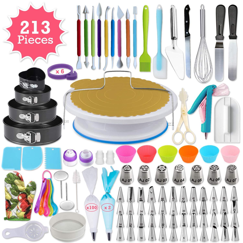 213pcs Cake Decorating Kit - Complete Cake Decorating Supplies & Baking Supplies - Baking Kit with 2 Piping Bags and 55 Tips - Frosting Bags and Tips with Turntable - Cupcake Decorating Kit by AJ GEAR