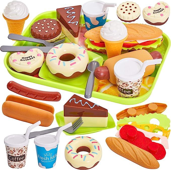 HERSITY Comida Cocinitas Juguete Alimentos Hamburguesas Helados Pastel Plastico de Juguete con Bandeja Juegos de rol Regalos para Niños 3 4 5 Años