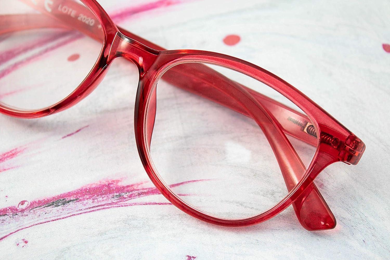 Transparent +1.0 LIANDU 2-Pack Fashion Ladies Lunettes de Lecture Charni/ères /à Ressort Lunettes de Lecture Lecteurs Color/és Pour Femmes Mod/èle HR3009