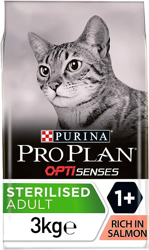 PURINA Pro Plan Comida Seco para Gato Esterilizado con Optirenal, Sabor Salmón - 3 Kg