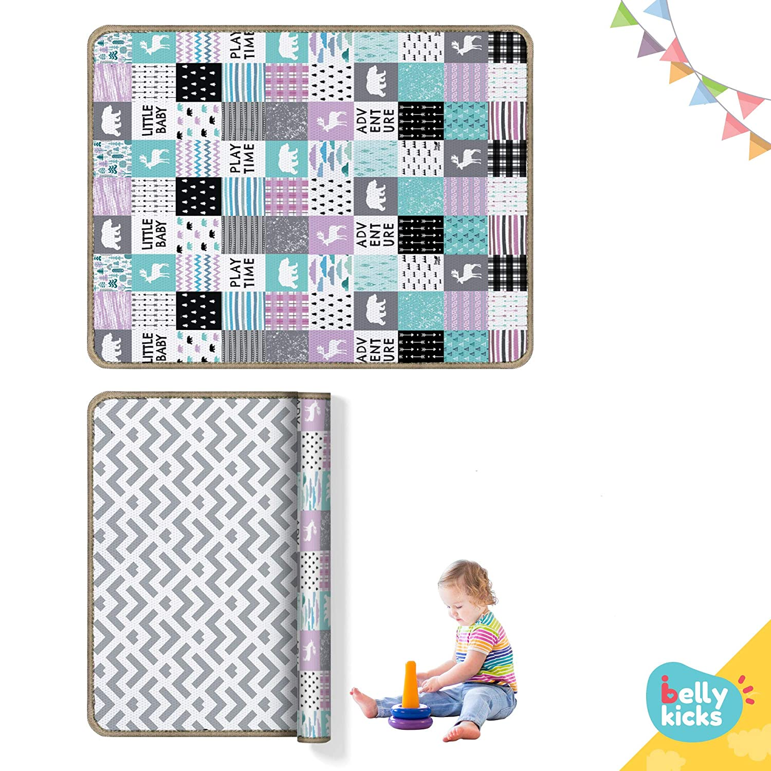 Baby Play Mat, 79 x 71 x 0.6 Inches, Waterproof and Anti-Slippery Tummy Time Floor Mats, Double Sided & Reversible Playmat for Infants, Colorful Side for Playing and Elegant for Home, Ships Rolled Belly Kicks