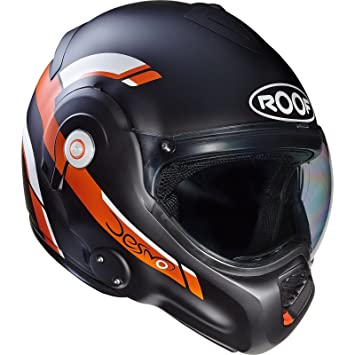 Roof – Casco Desmo reverso, color negro/naranja mate,