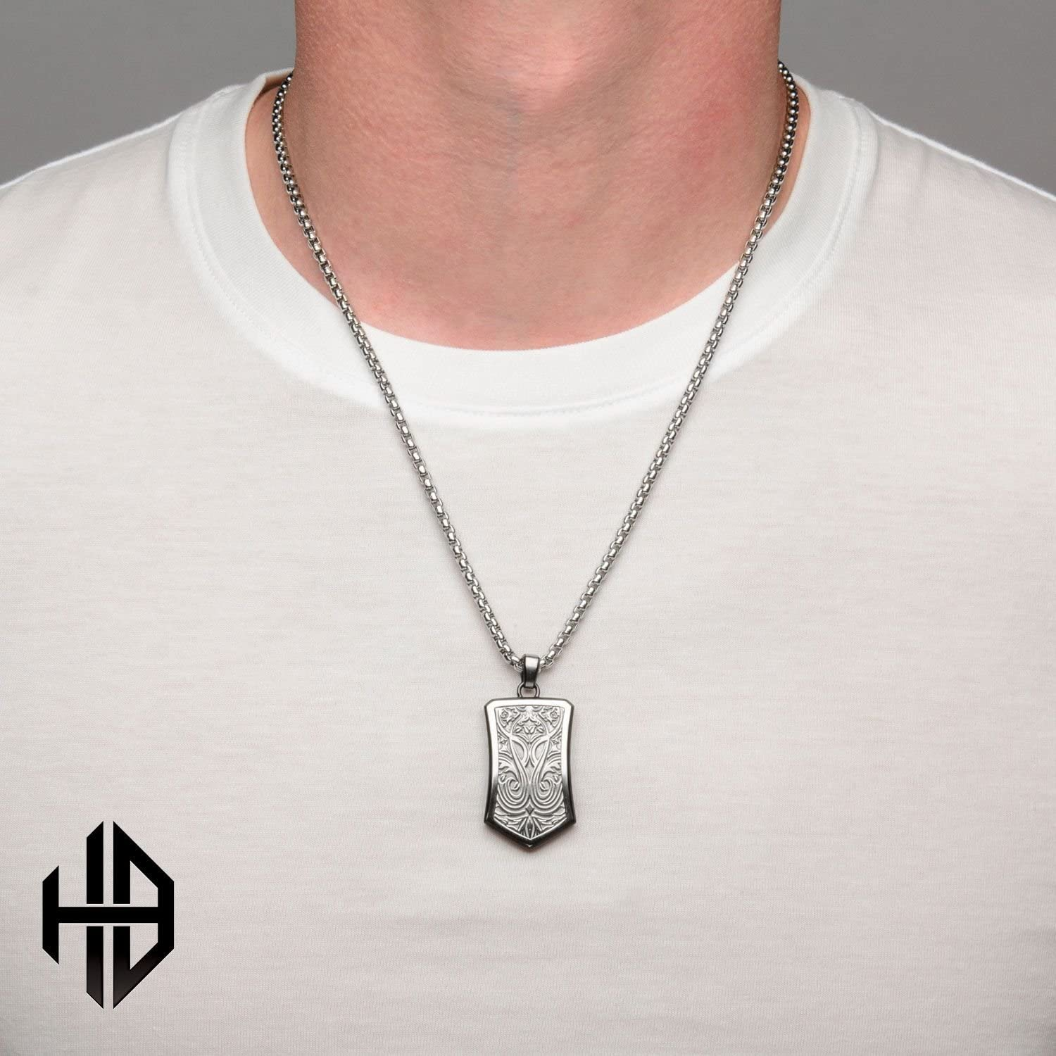 Hollis Bahringer Mens Stainless Steel Bold Ornate Texture Dog Tag Pendant with Chain