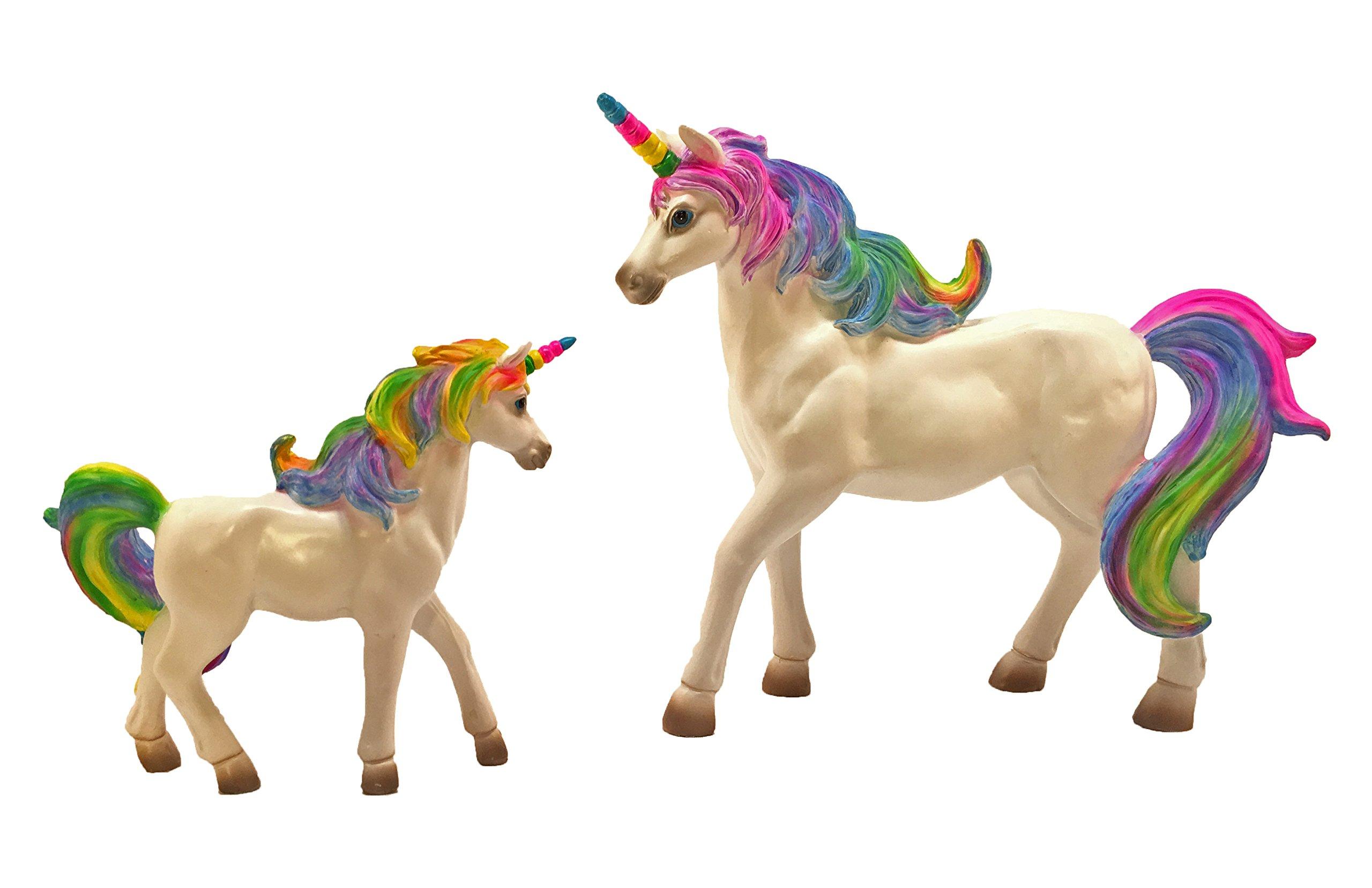 Rainbow Unicorn Set: Mother Unicorn (Alana) and Daughter Unicorn (Penelope) Miniatures Unicorn Figurines for your fairy garden by GlitZGlam by GlitZGlam (Image #4)