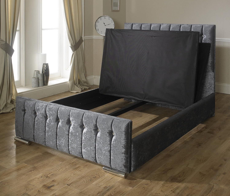 Luxus Hilton gecrushter Samt gepolsterten Stoff Bett, Rahmen mit ...