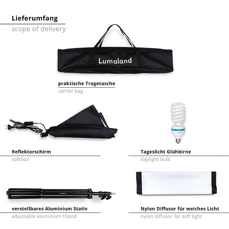Lumaland Kit Fotostudio professionale per Set Fotografico Softbox 50x70 cm Luci cavalletto treppiedi e custodia