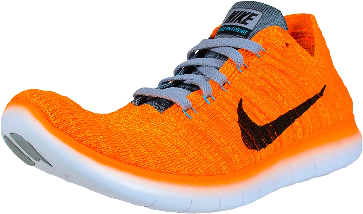 Nike Women s Free Running Motion Flyknit Shoes, Laser Orange Gamma Blue Cool Grey Black –