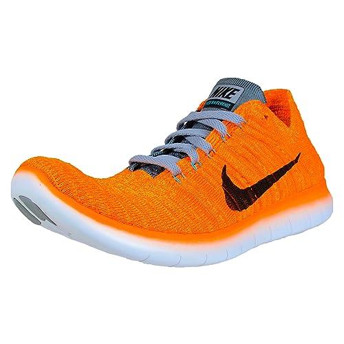 Nike Women s Free Running Motion Flyknit Shoes, Laser Orange Gamma Blue Cool Grey Black – 7.5 B M US