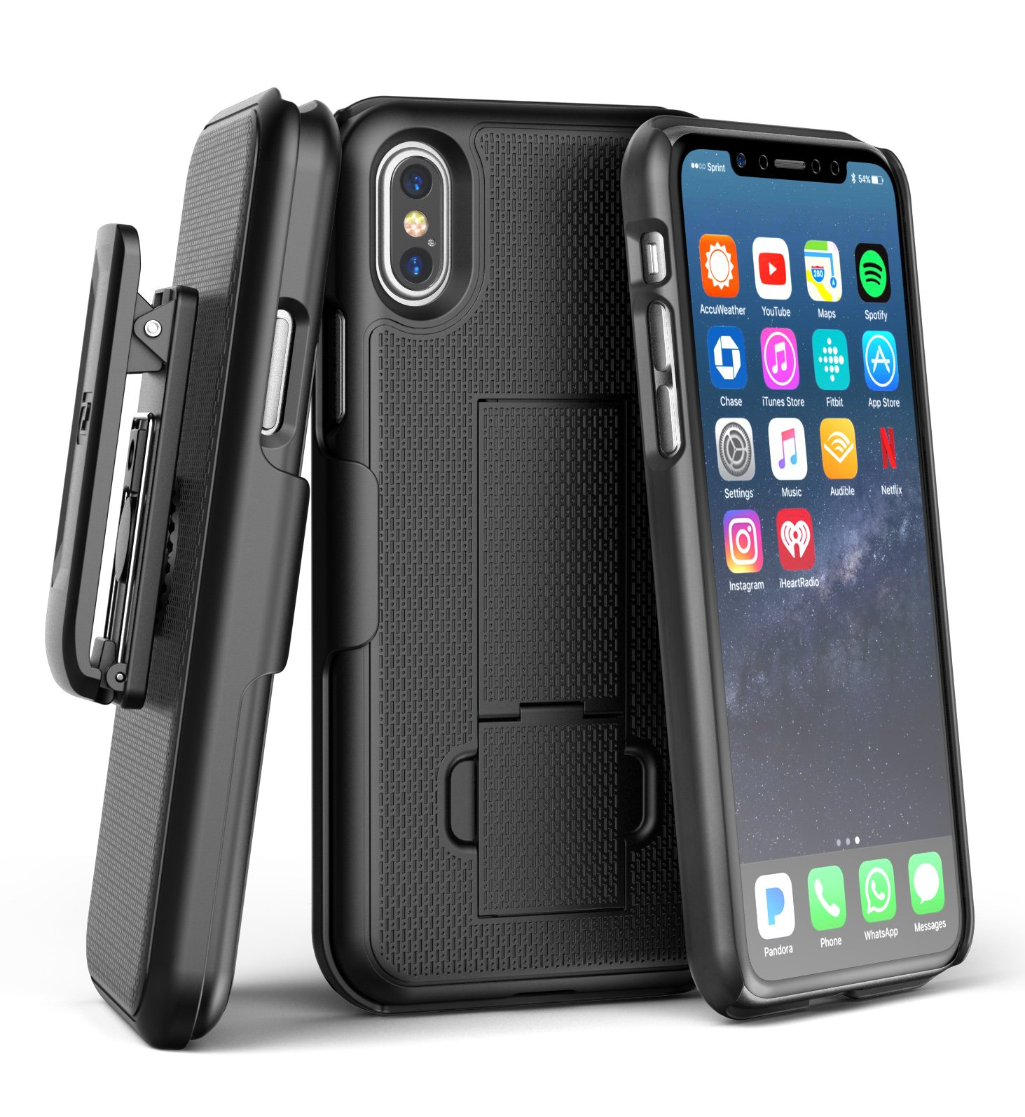 iPhone X Belt Clip Case & Screen Protector, Encased [DuraClip] Slim Fit Holster Shell Combo (w/Rubberized Grip Finish) For Apple iPhone X - 2017 Release (Smooth Black)