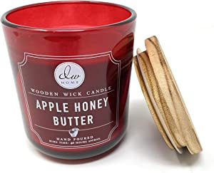 DW Home Apple Honey Butter 11.5 OZ Candle with Wooden Wick Topped with a Rustic Wooden Lid