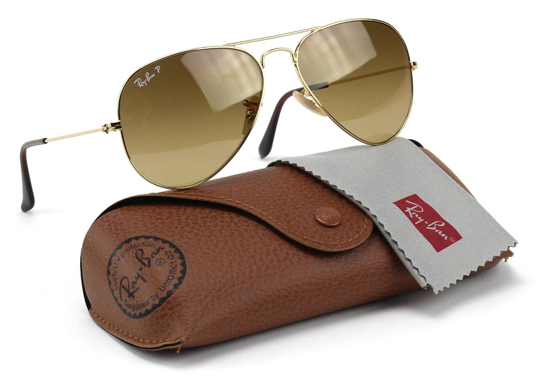 4d10560cdd1 Amazon.com  Ray-Ban RB3025 001 M2 Aviator Shiny Gold Frame   Brown Polarized  Lens 58mm  Clothing