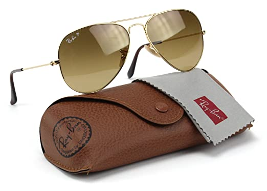 5f774c1b9f2c4 Image Unavailable. Image not available for. Color  Ray-Ban RB3025 001 M2  Aviator Shiny Gold Frame   Brown Polarized Lens 58mm