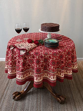 Wonderful Ruby Kilim ~ Rustic Red Holiday Decorative Round Tablecloth 90 Round