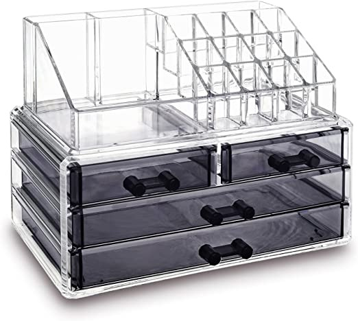 Amazon Com Ikee Design Jewelry And Cosmetic Storage Makeup Organizer Two Pieces Set Clear Black Home Kitchen