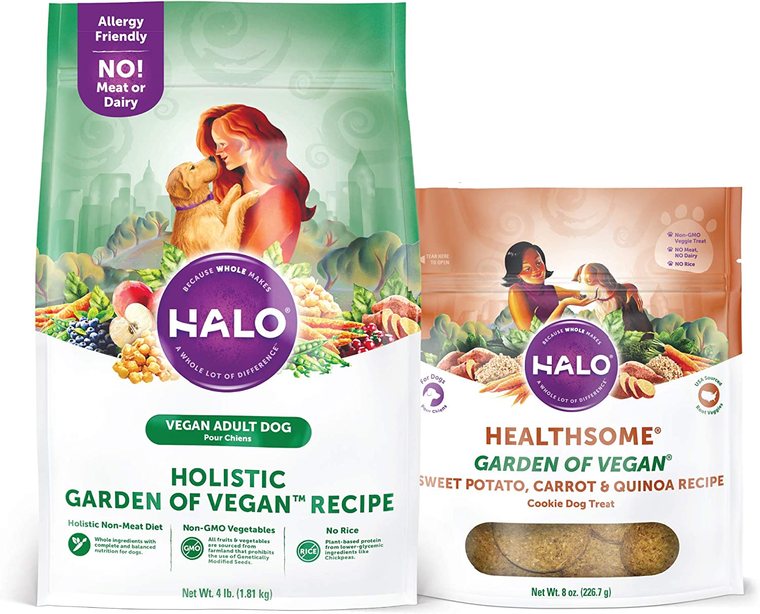 Halo Vegan Grain Free Natural Crunchy Dog Treats, Garden of Vegan Sweet Potato, Carrot, Quinoa Recipe, 8-Ounce Bag Plus Halo Vegan Dry Dog Food, Garden of Vegan Recipe, 4-Pound Bag