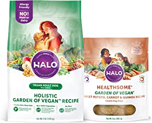 Halo Vegan Grain Free Natural Crunchy Dog Treats, Garden of Vegan Sweet Potato, Carrot, Quinoa Recipe, 8-Ounce Bag Plus Halo Vegan Dry Dog Food, Garden of Vegan Recipe, 4-Pound Bag