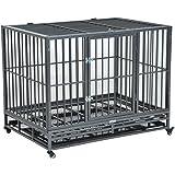 Pawhut Heavy Duty Steel Dog Crate Kennel Pet Cage w/ Wheels - Grey Vein