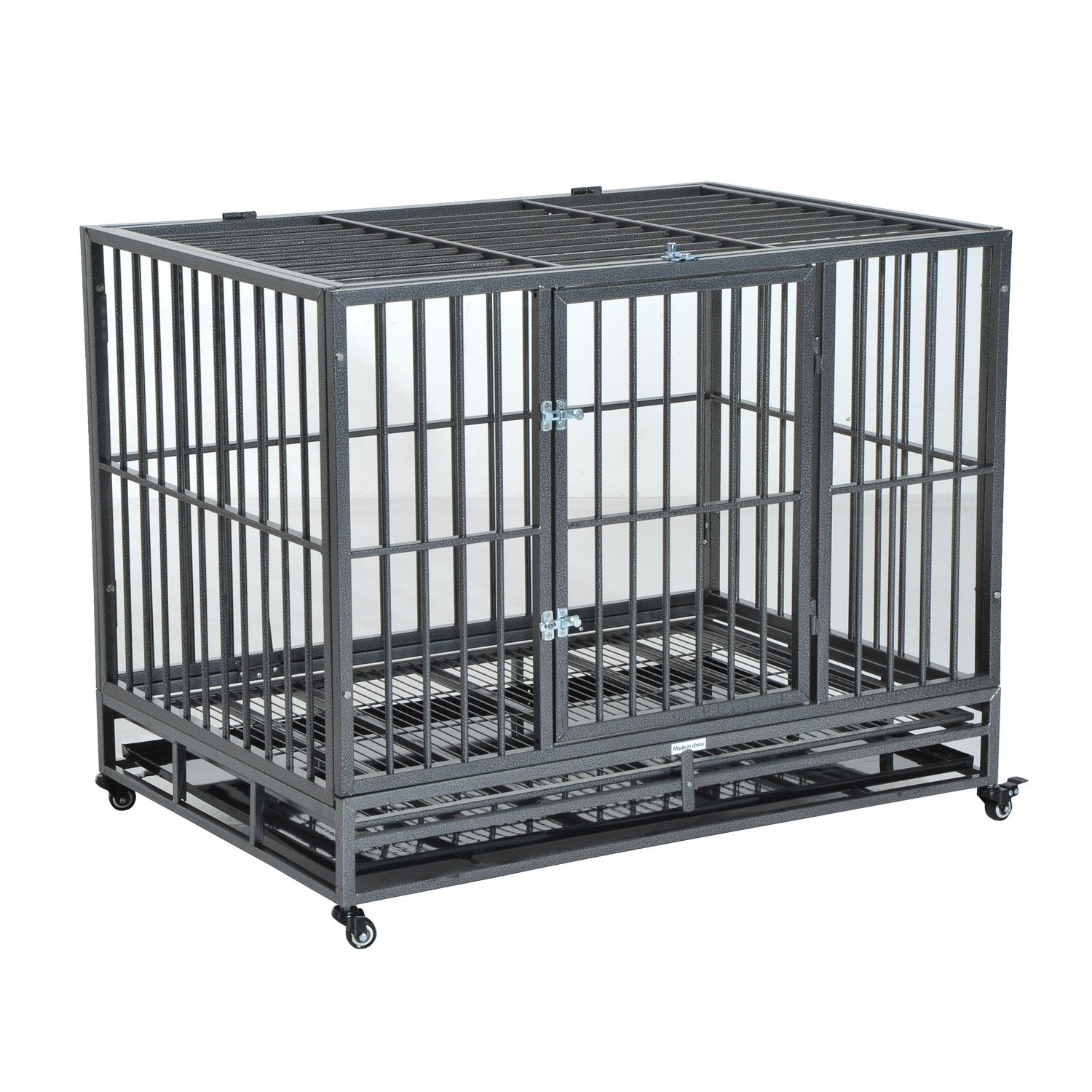 PawHut 42'' Heavy Duty Steel Dog Crate Kennel Pet Cage w/Wheels - Grey Vein