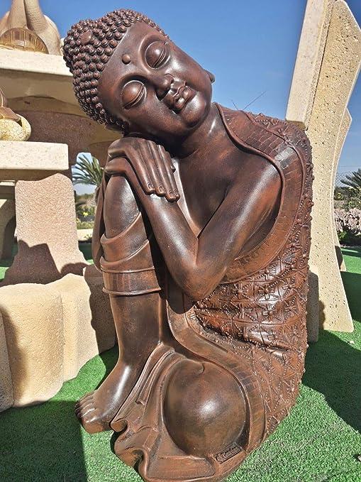DEGARDEN AnaParra Figura Decorativa Buda de hormigón-Piedra para jardín o Exterior 63cm. Teja: Amazon.es: Jardín