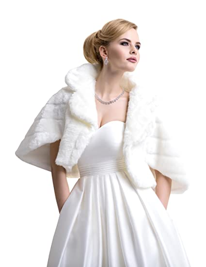 92c367789 Ladies Wedding Bridal Faux Fur Jacket with Collar Three Quarter Sleeves  FFJ-24 Ivory at Amazon Women's Coats Shop