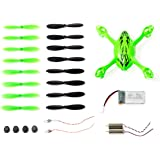 Genuine Hubsan Spare Parts Crash Pack for X4 H107C Quadcopter Drone, Includes Body Shell, 8 Pairs of Lime Green and Black Propellers, LiPo Battery, 4x Rubber Feet, 2x Motors, 2x LED Lights