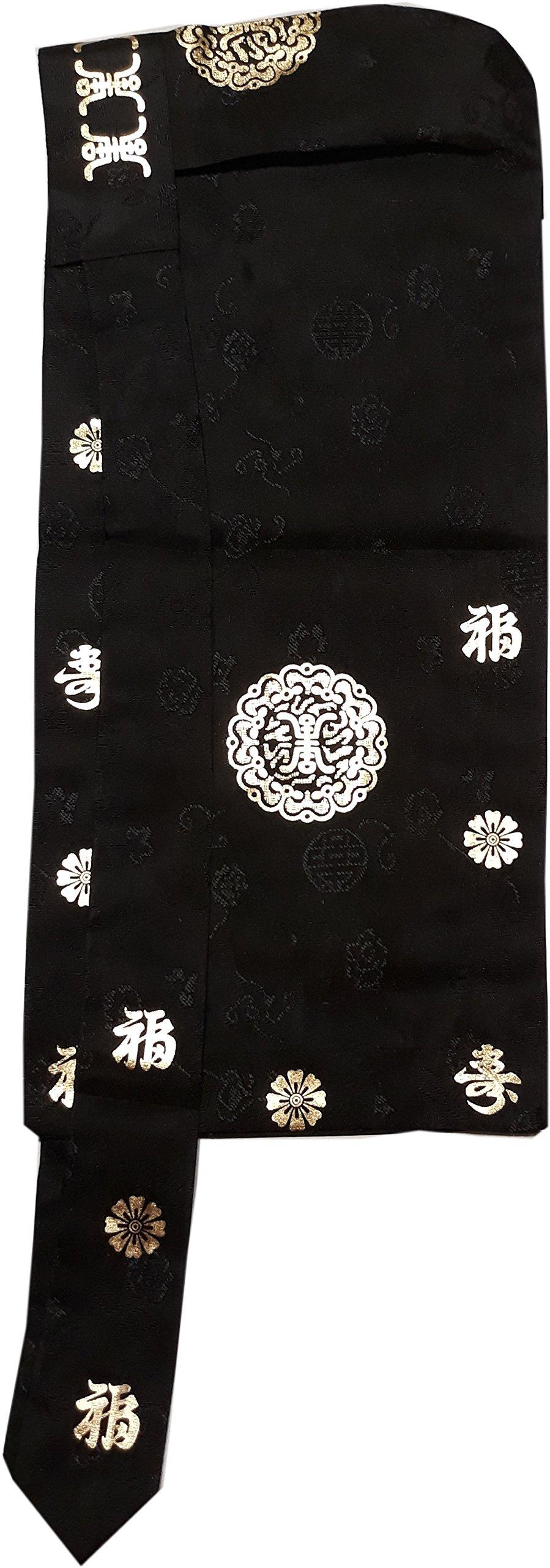 Korean hanboks boys babies cap traditional costumes cap BOKGUN black color gold print (1-2 ages)