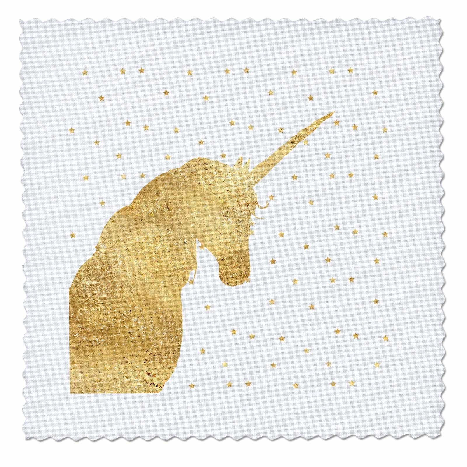 3dRose PS Animals - Image of Gold Stars Sparkle Unicorn - 25x25 inch quilt square (qs_280669_10)