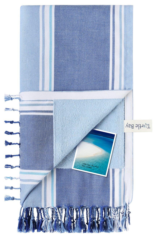 Turtle Bay - Toalla de playa / Pareo - Toalla de baño - Kikoy Towel New Ramatuelle - Color : Sky/Night Blue - Tamaño : 95 x 170 cms: Amazon.es: Hogar