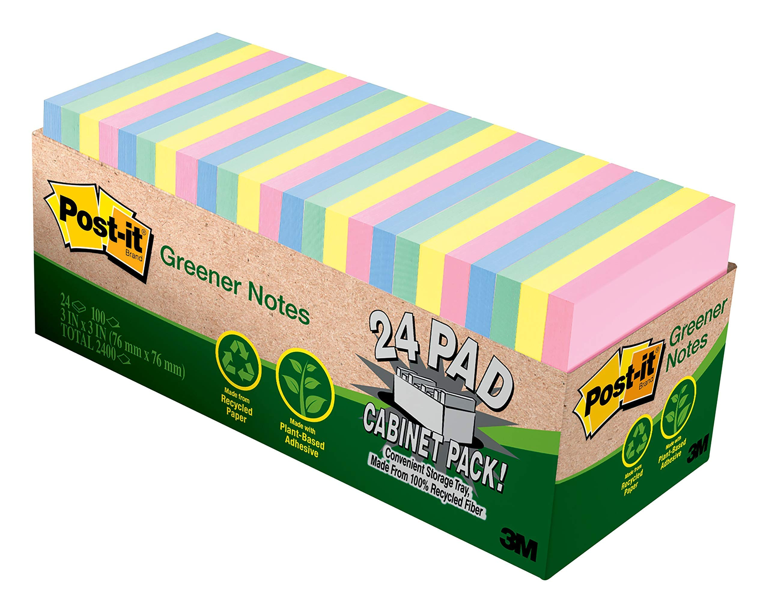 Post-it Greener Notes, Helsinki Colors, Call out Important Information, Recyclable, 3 in. x 3 in, 24 Pads/Pack, 75 Sheets/Pad (654R-24CP-AP)[New Improved Version]
