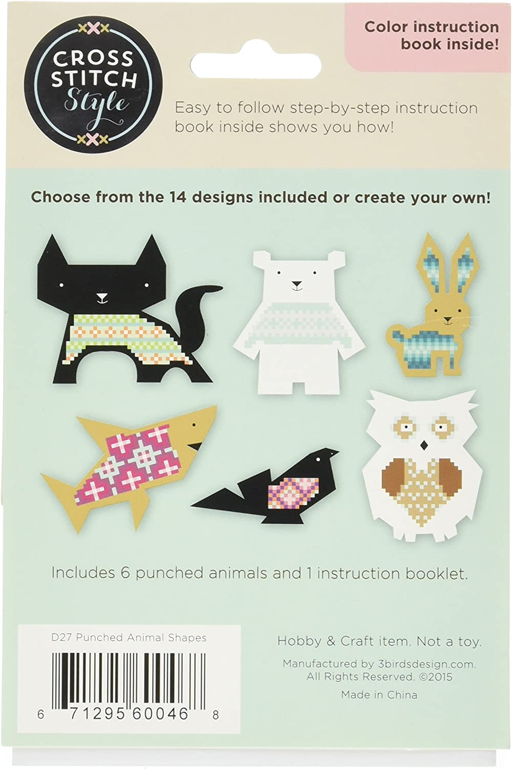 Cross Stitch Style Animal Shapes Punched For Cross Stitch-6//pkg