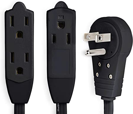 UL Listed 3 Outlet Electrical Cord MAXIMM 6 Feet 3 Outlet Extension Cord//Wire 16AWG Indoor//Outdoor Use Black