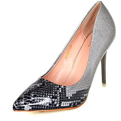 88cd83e7b4f7 Ladies Pointed Toe Multicolor Stiletto Heels Classy Patent Closed Toe Court  Shoe UK 3