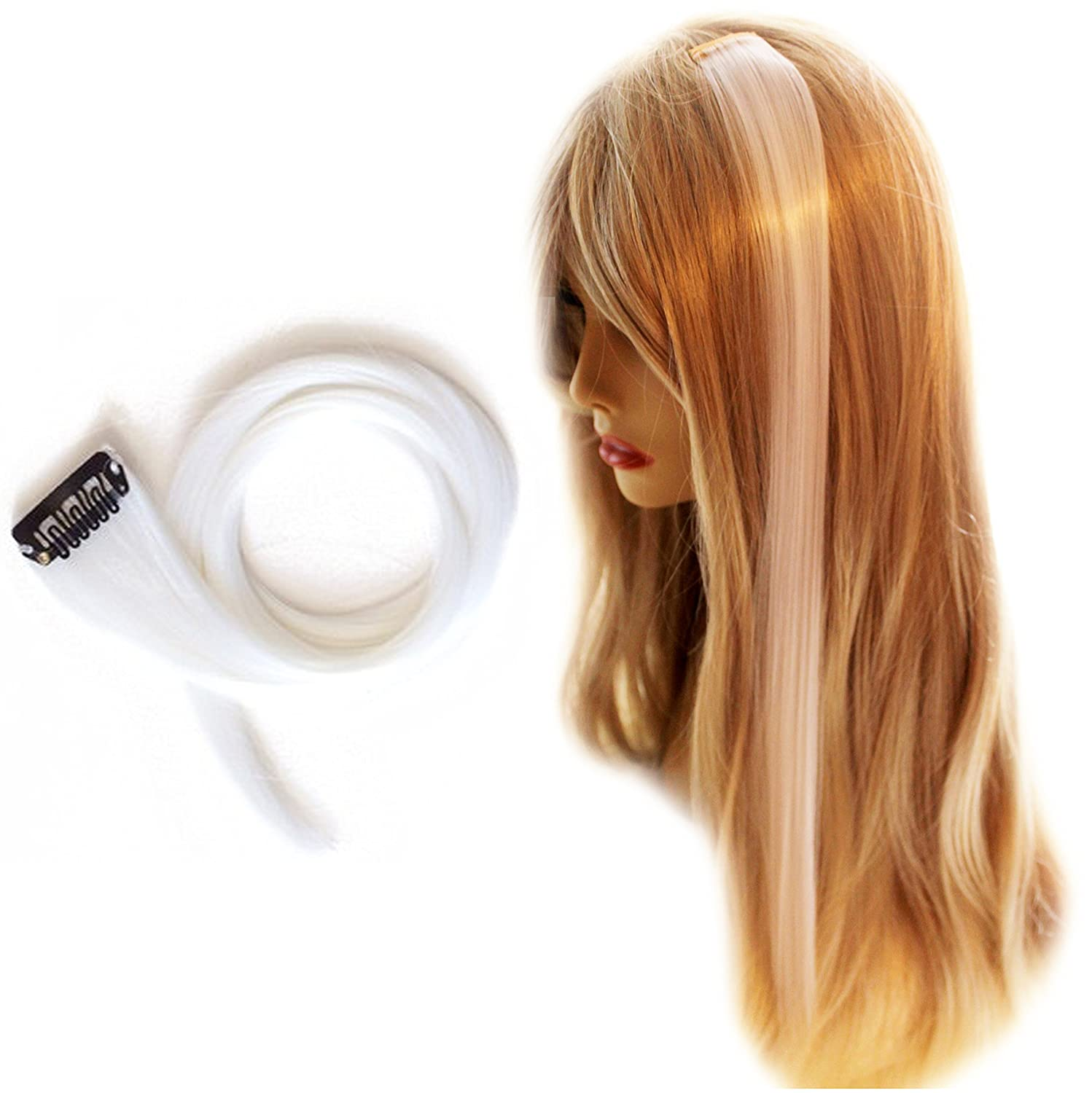 Amazon 22 Clip In Straight Synthetic Hair Extension White