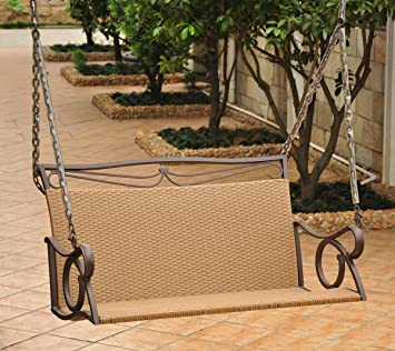 caravan valencia steel and resin wicker porch swing 4100dblhy