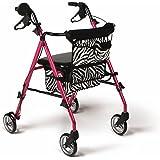"Medline Posh Premium Lightweight Folding Aluminum Rollator Walker with 6"" Wheels, Pink"