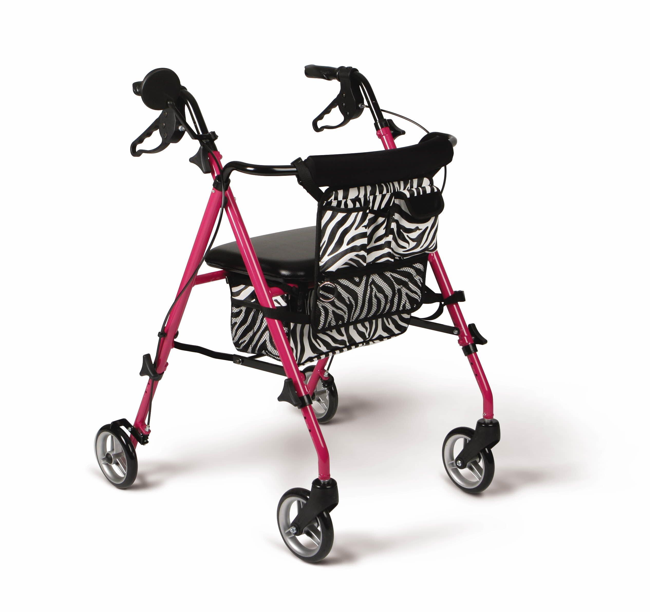 Medline Posh Premium Lightweight Foldable Aluminum Rollator Walker with 6 Inch Wheels, Pink by Medline