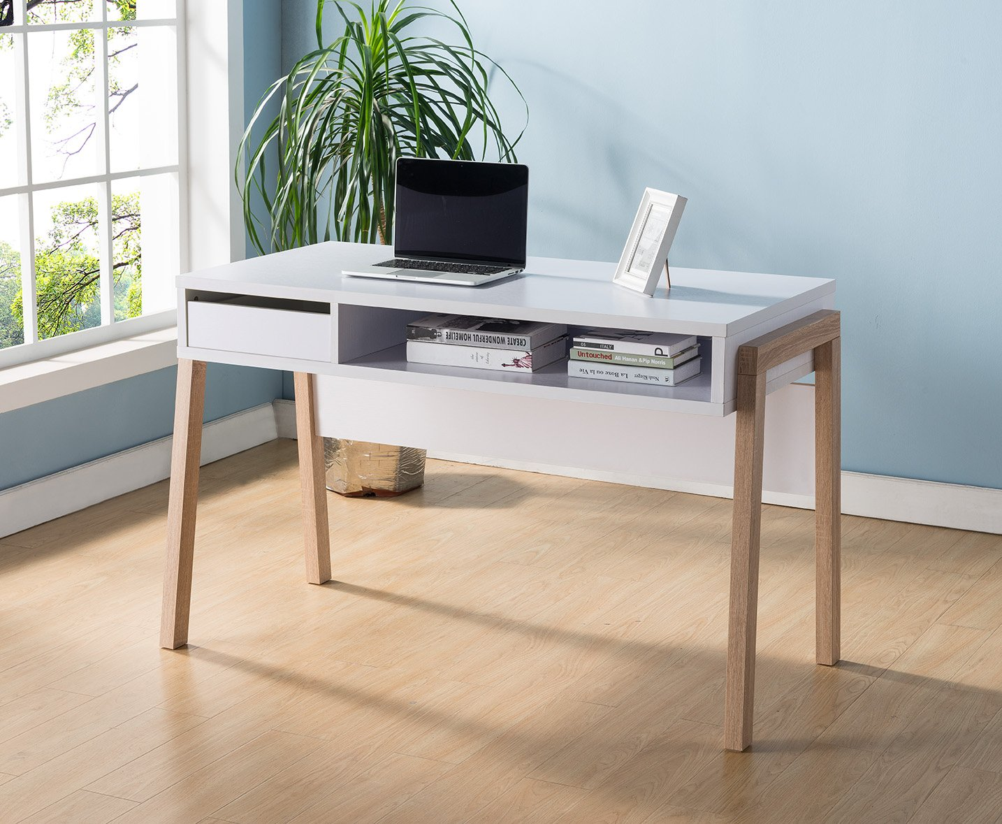 151400 Smart Home White & Weathered White Laptop Computer Writing Desk