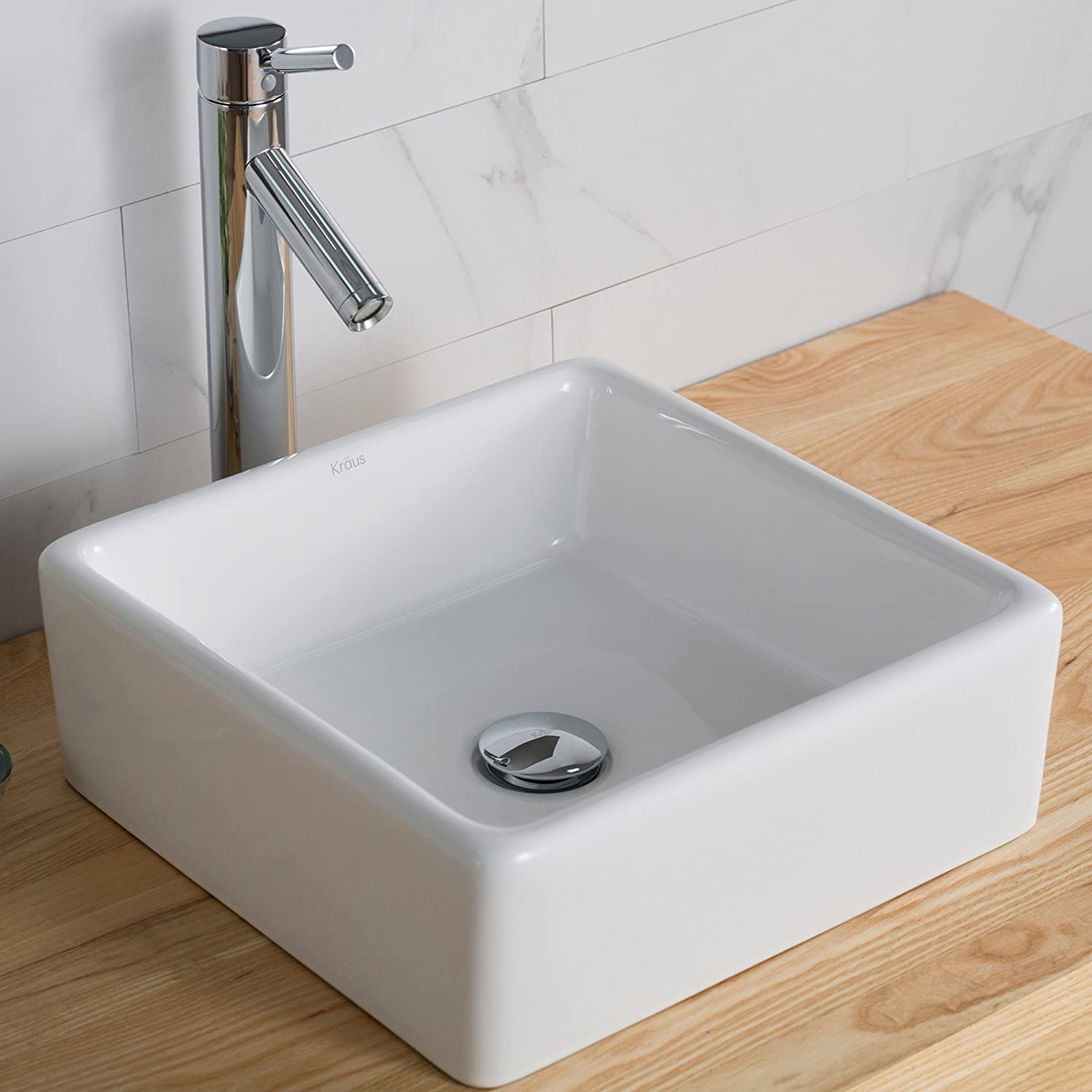 Kraus KCV-120 Ceramic Above counter Square Bathroom Sink, 15.2 x 15.2 x 5.2 inches, White