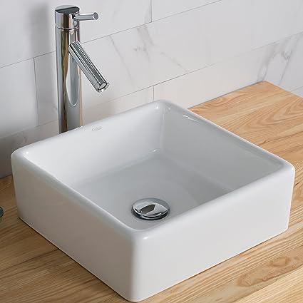 Square Bathroom Sinks | Kraus Kcv 120 White Square Ceramic Bathroom Sink Vessel Sinks