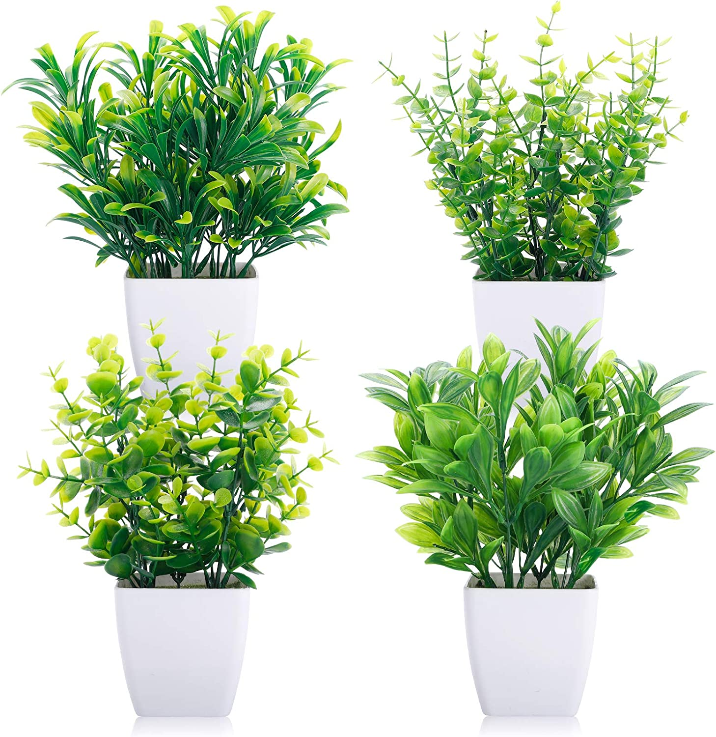 CEWOR 4 Packs Artificial Mini Potted Plants Fake Greenery Eucalyptus Plastic Pot Centerpiece for Home Office Desk Table Indoor Decor