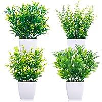 CEWOR 4 paquetes de plantas artificiales mini macetas, plantas artificiales de eucalipto, macetas de plástico, centro de…