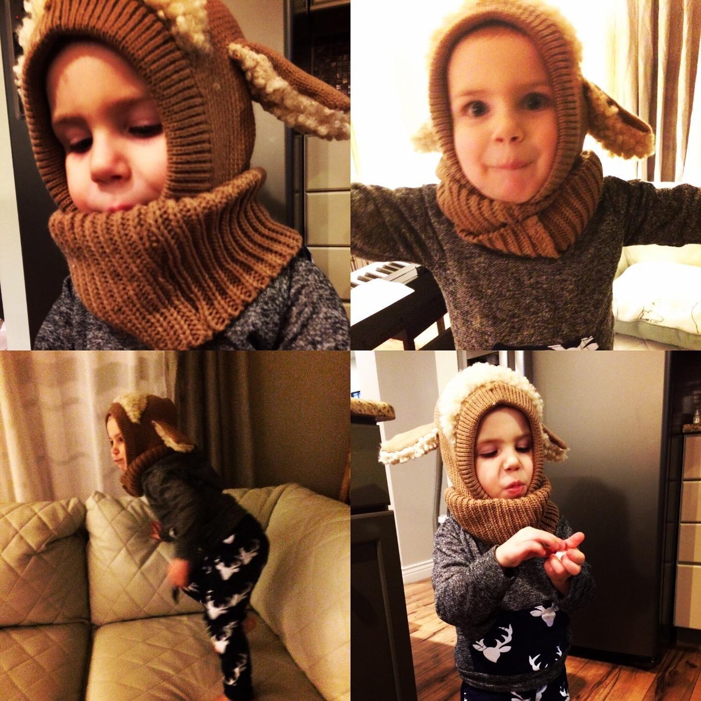 iHomey Baby Girls Boys Toddler Winter Hat Scarf Set Cutest Earflap Hood Warm Knit Hat Scarves with Ears Snow Neck Warmer Wool Skull Cap for Kids 6-48 Months