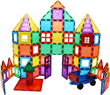 Skymags Magnetic Blocks Building Tiles 100 Peice Set 3D Clear Color with Strong Magnets Developes Kids Imagination, Inspiration and Fine Motor Skills in Children