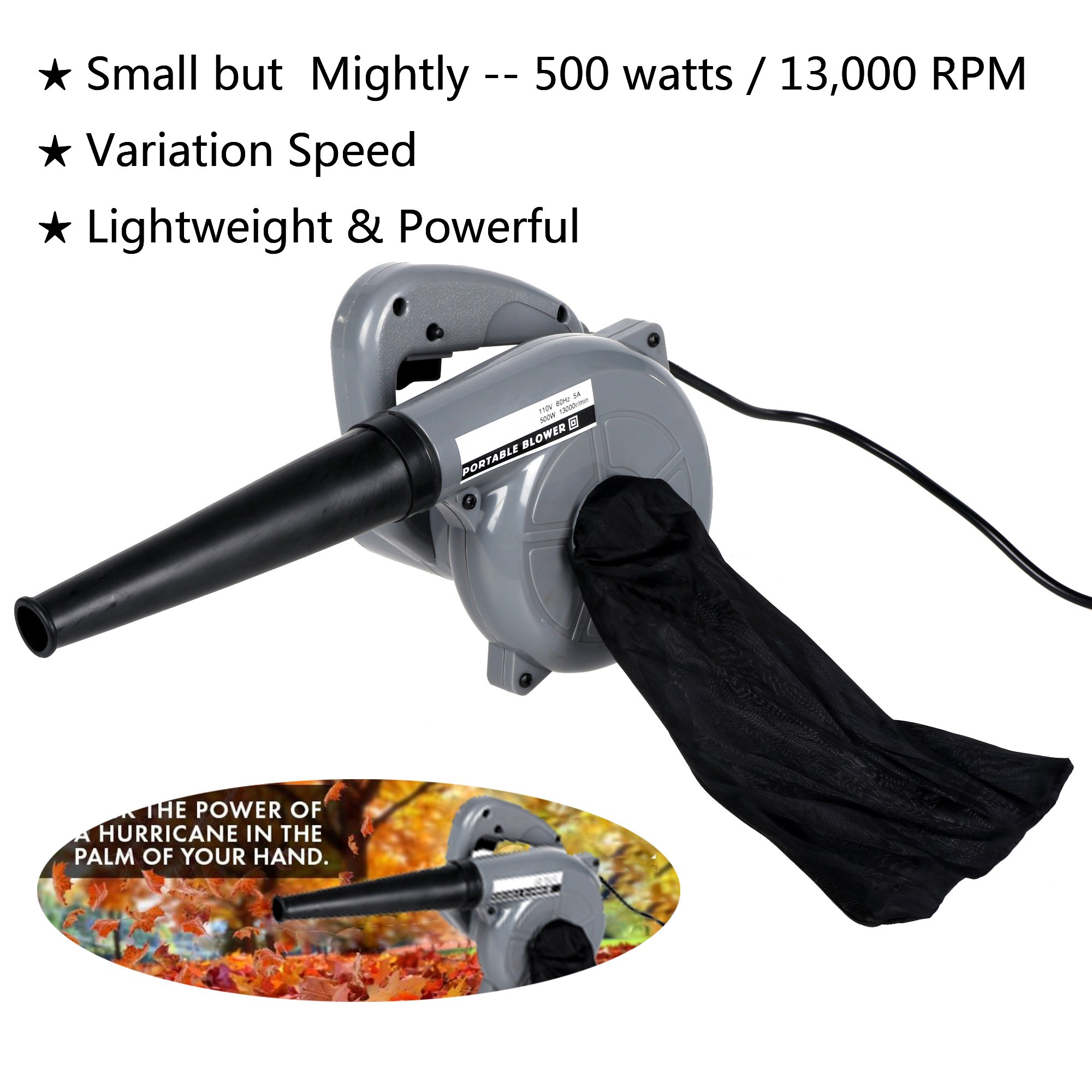 shaofu Electric Leaf Blower, Mighty Leaf Blower Blow Dust Cleaning Computer Vacuum Cleaner With Vacuum Bag (Grey-500W)