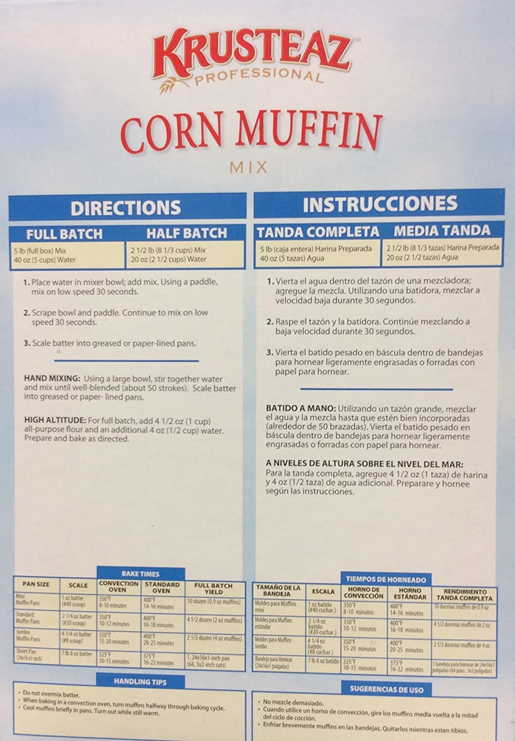 Amazon.com : Krusteaz CORN MUFFIN Mix 5lbs. (3-Pack) Restaurant Quality : Grocery & Gourmet Food