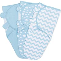 Swaddle Blanket Baby Girl Boy Easy Adjustable 3 Pack Infant Sleep Sack Wrap Newborn Babies by Comfy Cubs (Blue, Small…